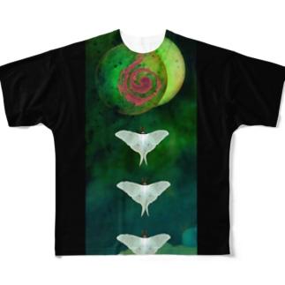tanna fantastic worldのオオミズアオの痩せて見えるTシャツ Full graphic T-shirts