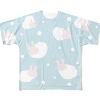 ふんわりウサギドット Full graphic T-shirts