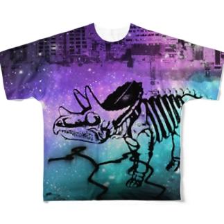 街と恐竜(パープル) Full graphic T-shirts