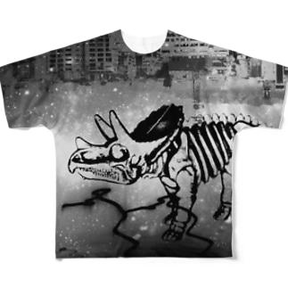 街と恐竜(モノクロ) Full graphic T-shirts