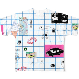 grid_nekousa Full graphic T-shirts