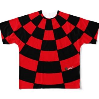 ゴータ・ワイのサークルチェッック 赤黒 Full graphic T-shirts