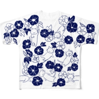 きねこ朝顔小柄 Full graphic T-shirts