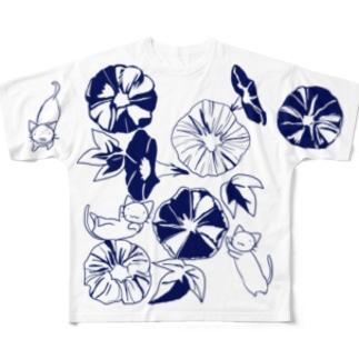 きねこ朝顔大柄 Full graphic T-shirts