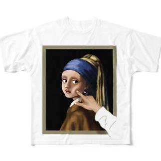 イラッとする真珠の耳飾りの少女 Full graphic T-shirts