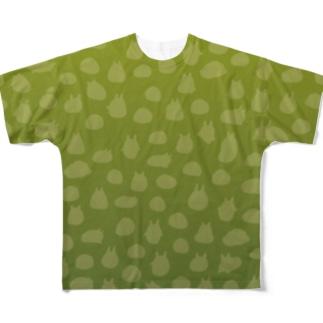 やるきないシルエット(グリーン) Full graphic T-shirts