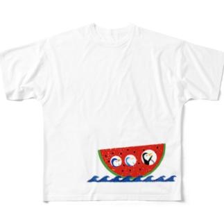 スイカ船で、波乗りダァー Full graphic T-shirts