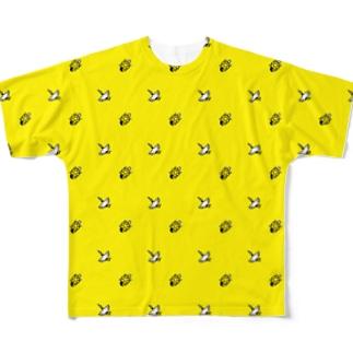 #かめつる柄 _ 黄色 Full graphic T-shirts