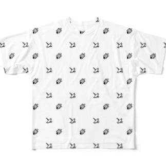 #かめつる柄 _ 白 Full graphic T-shirts