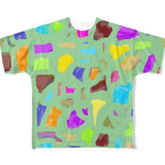 カラフルパズル Full graphic T-shirts