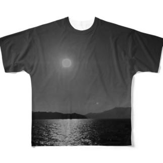 茨城県大洗サンビーチ(モノトーン) Full graphic T-shirts