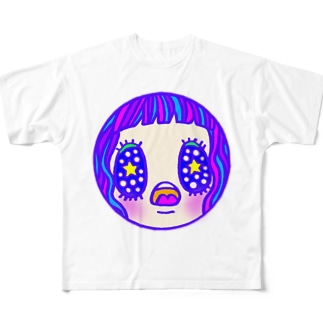 星空を見上げる乙女 Full graphic T-shirts