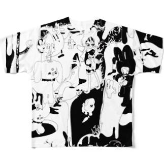 月にいるうさぎ的な Full graphic T-shirts