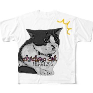 チキンキャット〜ビビり猫〜 Full graphic T-shirts