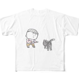 猫にちょっかいだす夫・サミ太郎 Full graphic T-shirts