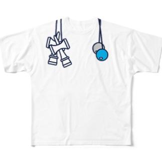 けん玉ルックTシャツ(右利き) Full graphic T-shirts