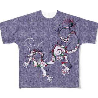 龍と文様 紫 Full graphic T-shirts