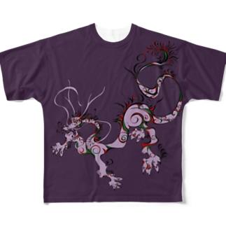 龍 A 紫 Full graphic T-shirts