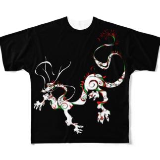 龍 A 黒 Full graphic T-shirts
