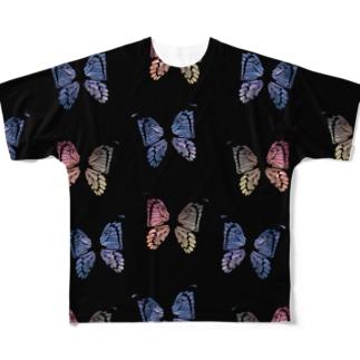 バタフライ赤×青ビッグシャツ(黒) Full graphic T-shirts