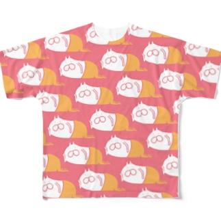 ねこタイツ サーモン Full graphic T-shirts