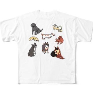 犬さんいろいろ Full graphic T-shirts