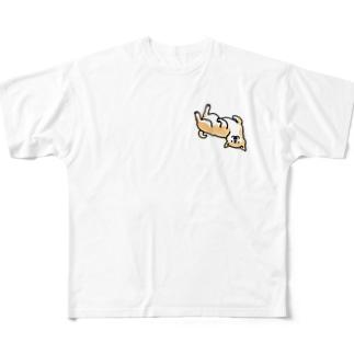 ころんと柴犬さん Full graphic T-shirts