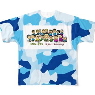 Mito cup3 青迷彩 裏青 Full graphic T-shirts
