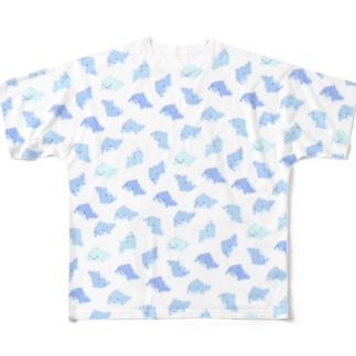 たくさんのジンベイザメ 青 Full graphic T-shirts