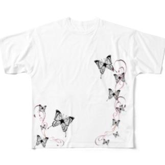 バタフライ黒+赤唐草ビッグシャツ(白) Full graphic T-shirts