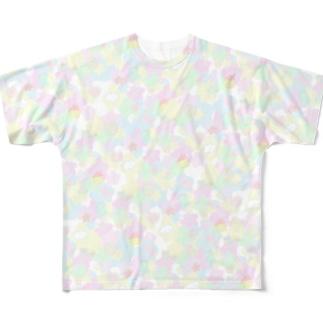 ようなぴしょっぴんぐまーとのぱすてるかわぴよ柄 Full graphic T-shirts