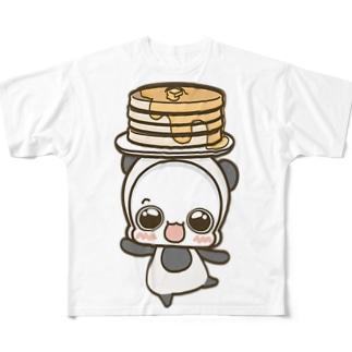 白くまパンダ ホットケーキ(白) Full graphic T-shirts