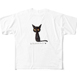 黒猫ムーン New Big  Full graphic T-shirts