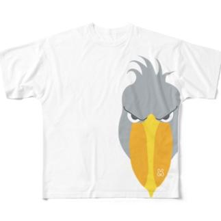 左側を支配するハシビロコウ Full graphic T-shirts