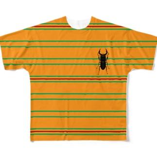 クワガタボーダー Full graphic T-shirts