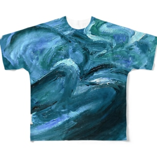 ワニくんの油絵 Full graphic T-shirts