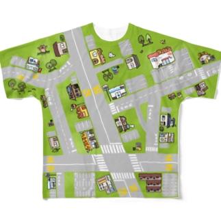 道路マップTシャツ Full graphic T-shirts