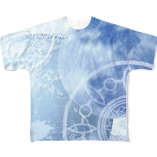 目覚める月 地球バージョン Full graphic T-shirts