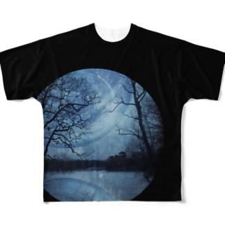 惑星 重なる刻 黒 Full graphic T-shirts