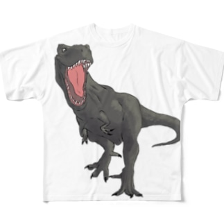 馬小屋のティラノサウルス ブラウン Full graphic T-shirts