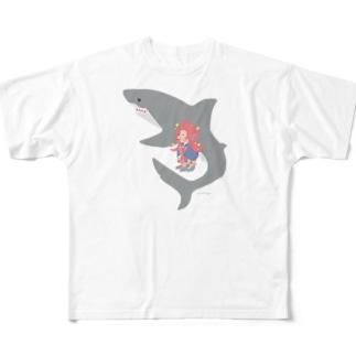 アマビエさんとサメさん/サメ色のサメさん Full graphic T-shirts