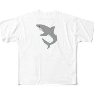 シンプルにサメさん Full graphic T-shirts