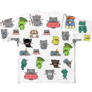 ナマズねこ君と仲間たち Full graphic T-shirts