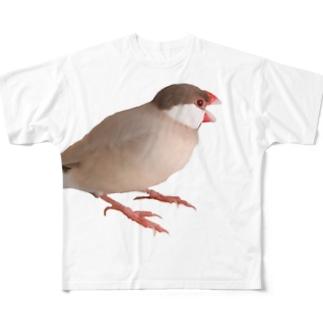 文鳥の千代丸のあくびする千代丸 Full Graphic T-Shirt