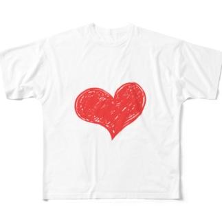 ハートマーク手書き Full graphic T-shirts