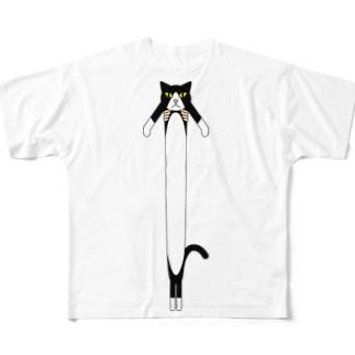 渡辺曜専属執事はんちょー🌙 なじらTVの伸びる猫Tシャツ Full graphic T-shirts