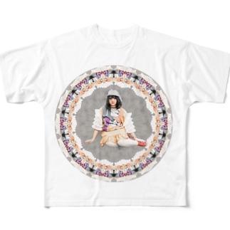 丸の中にすわる Full graphic T-shirts