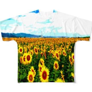 山元町のヒマワリ畑 Full graphic T-shirts