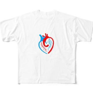 ハートの心臓 Full graphic T-shirts