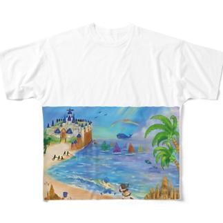 海のイラスト Full graphic T-shirts